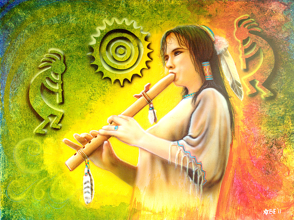 Flute Player Painting - Native American Flute Player by Amatzia Baruchi