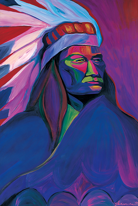 Native American Pink And Green Painting By Mike Lawrence