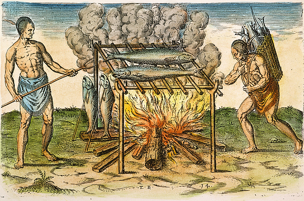 1590 Photograph - Native Americans: Barbecue, 1590 by Granger