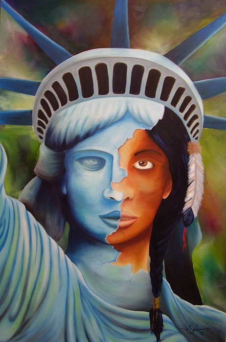 Native Liberty Painting by Spider Ryan