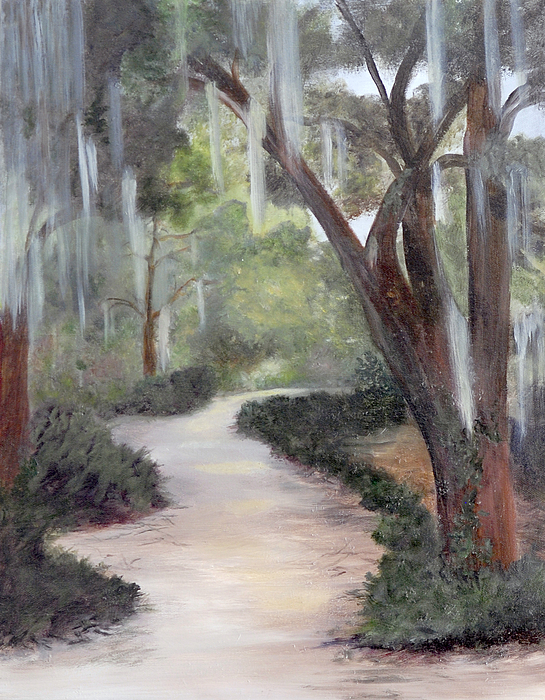 Wooded Landscape Painting - Nature Trail by Shirley Lawing