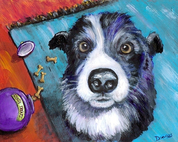 Border Collie Painting - Naughty Border Collie by Dottie Dracos