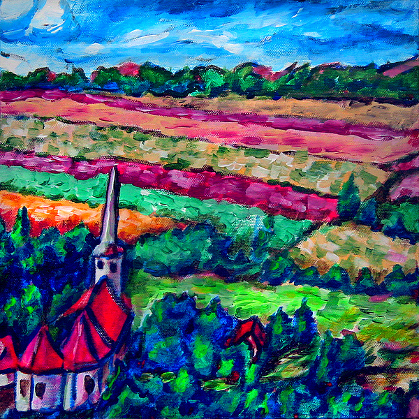 Landscape Painting - Nearing The Church by Laura Heggestad