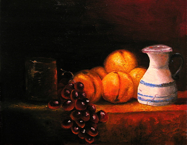 Still Life Painting - Nectarines With Grapes by Chris Haugen