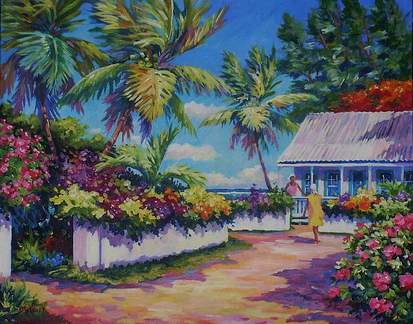 Poinciana Painting - Neighbours 11x14 by John Clark