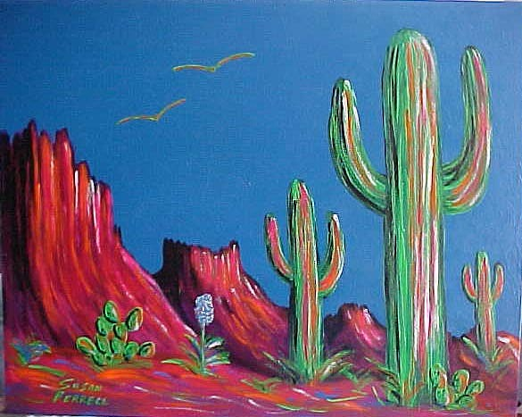 Southwest Painting - Neon Cactus by Susan Ferrell