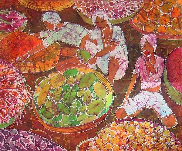 Impressionism Painting - nepal Market  by Chagorova Tanja