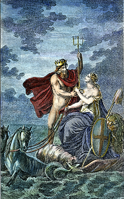 neptune roman god of sea photograph by granger