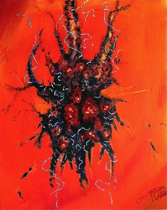 Orange Painting - Nerve Damage by Chris Haugen