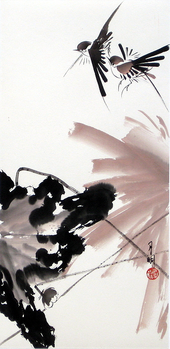 Lily Pond Painting - Nesting From Dawn To Dusk by Ming Yeung