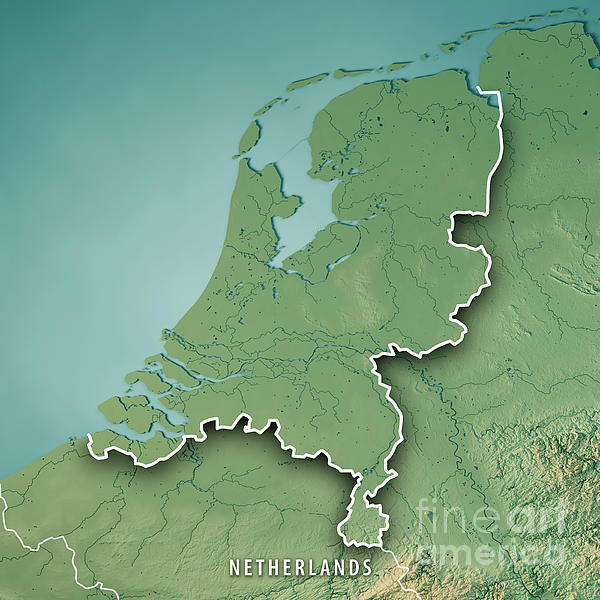 Herlands Country 3d Render Topographic Map Border Digital Art: Netherlands Topographic Map At Infoasik.co