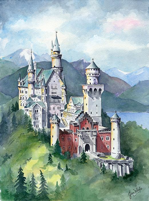 Europe Painting - Neuschwanstein by Jean White