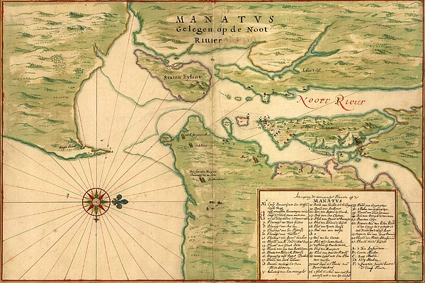 History Photograph - New Amsterdam In 1639. Earliest Map by Everett