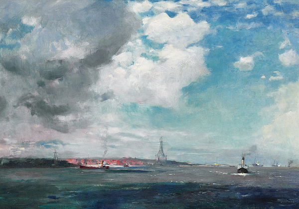 Seascape Painting - New Brighton From The Mersey by JH Hay