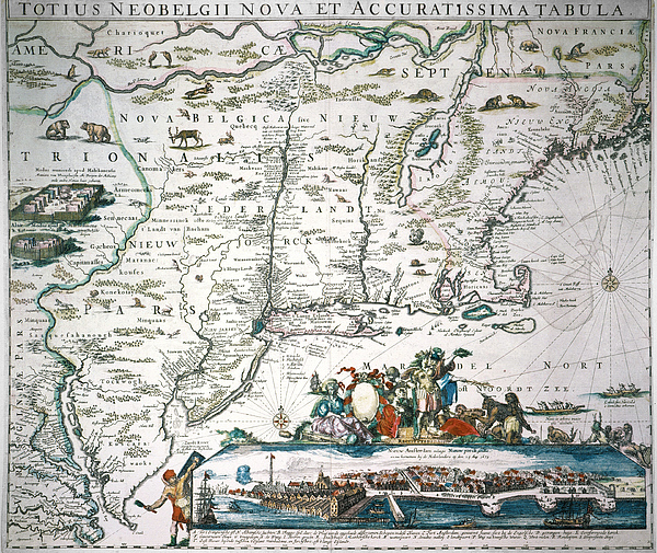1673 Photograph - New Netherland Map by Granger
