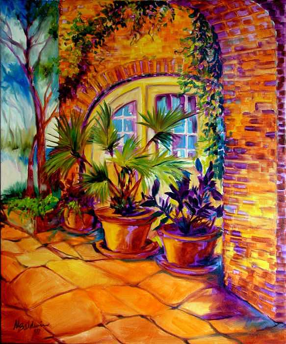 New Orleans Painting - New Orleans Courtyard By M Baldwin by Marcia Baldwin