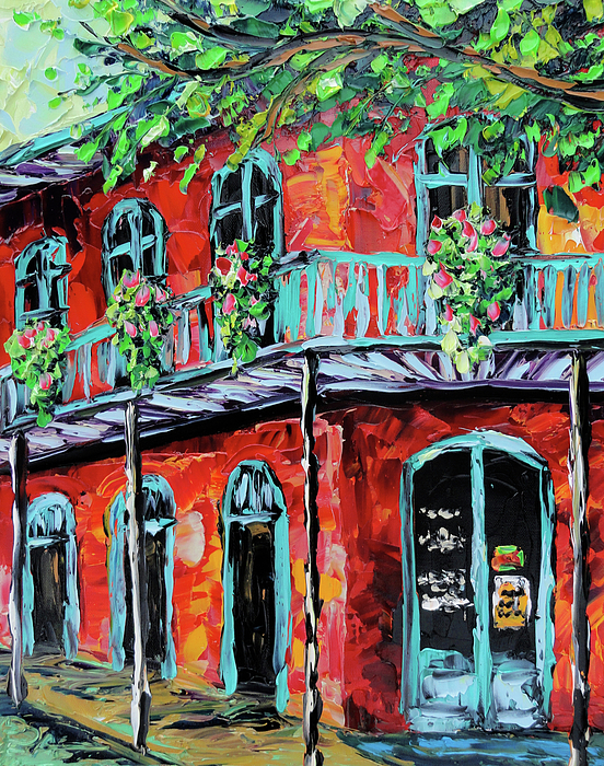 New Orleans Oil Painting Red House Painting By Beata Sasik