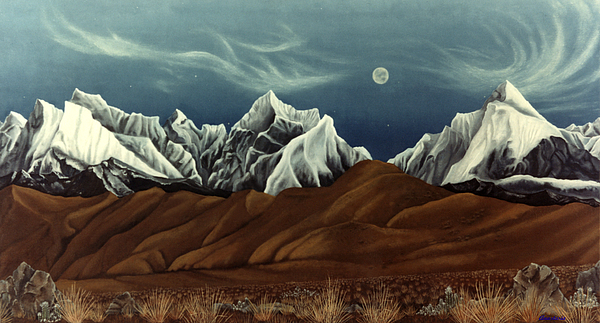 Andes Mountains Painting - New Years Moon Over Cojata Peru by Anastasia Savage Ealy