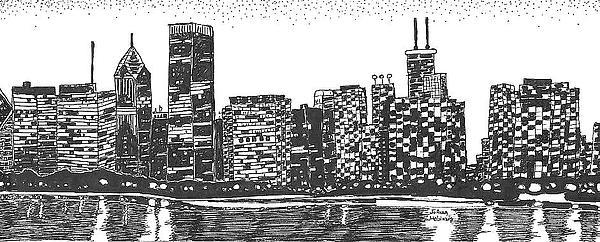 New York Skyline Drawing - New York by Jo Anna McGinnis