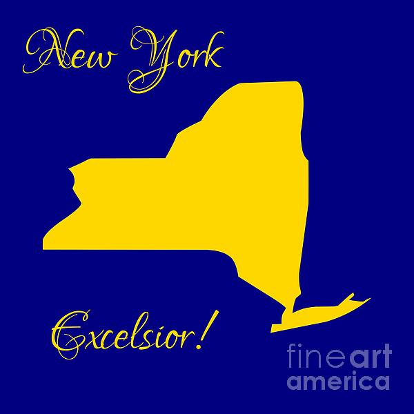 New York Digital Art - New York Map In State Colors Blue And Gold With State Motto Excelsior by Rose Santuci-Sofranko