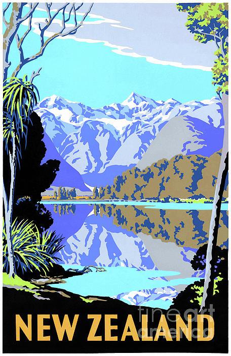 Vintage Travel Drawing - New Zealand Lake Matheson Vintage Travel Poster by Carsten Reisinger