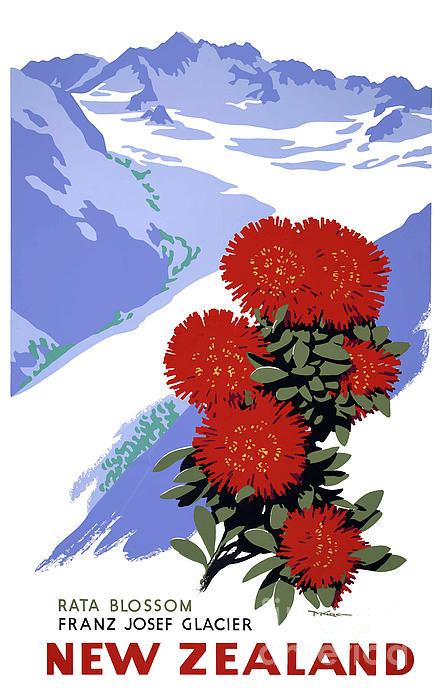 Vintage Travel Photograph - New Zealand Rata Blossom Vintage Travel Poster by Carsten Reisinger