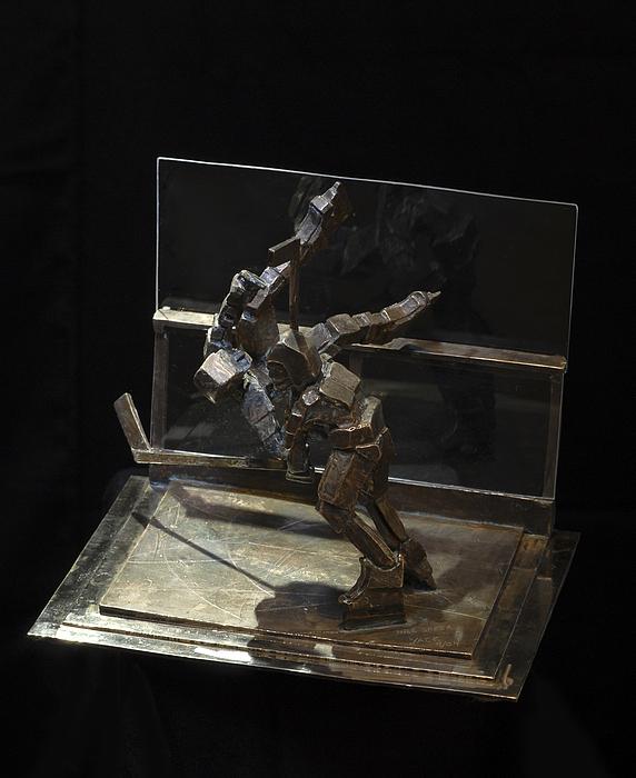Ice Hockey Sculpture - Nice Check by Ken Yackel