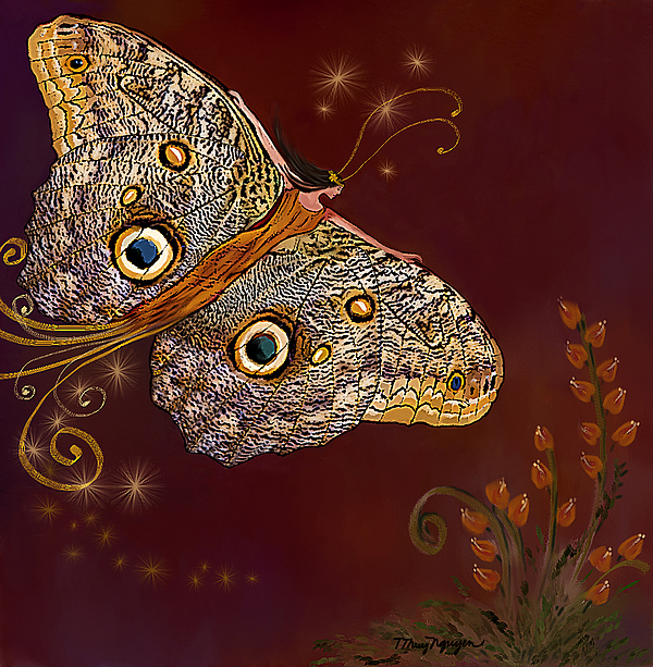 Owl Butterfly Digital Art - Night Butterfly  by Thanh Thuy Nguyen