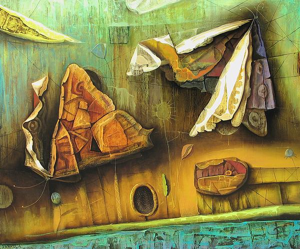 Night Butterflyes Painting by Vakho Kakulia
