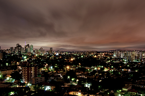 Horizontal Photograph - Night Cityscape by People are strange by Patricia Kroger