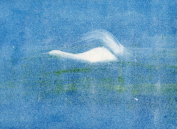 A Crane Flying At Night-original Monotype Print Painting - Night Flight by Mui-Joo Wee