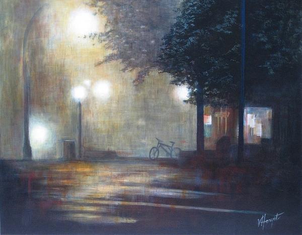 Fog Painting - Night Fog by Victoria Heryet