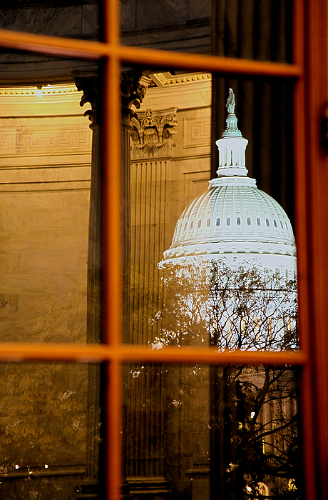 Russell Senate Office Building Photograph - Night by Mitch Cat
