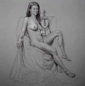 Female Nude Drawing - Night Muse by Seidai Tamura