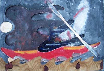 Kayak Painting - Night Paddler by Harry Spitz