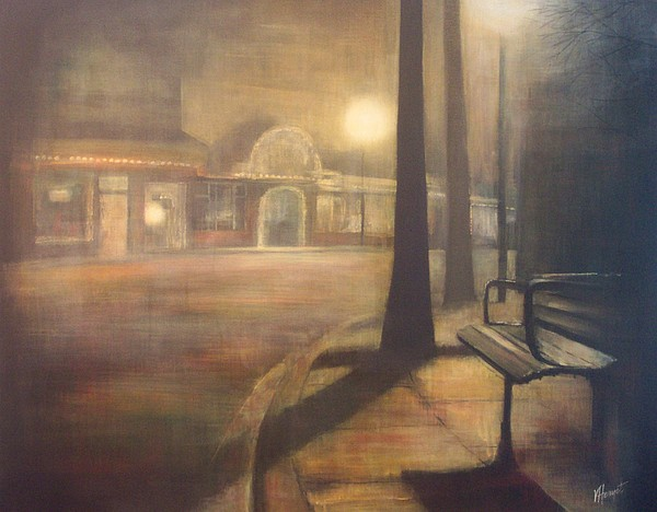 Ladner Painting - Night Stroll by Victoria Heryet