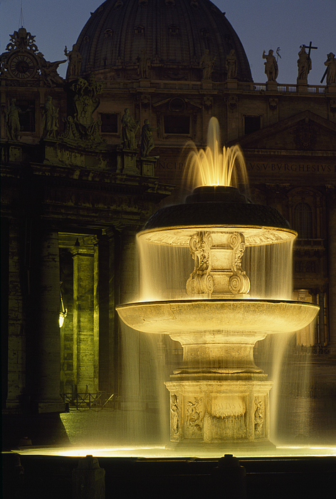 Night Photograph - Night View Of A Fountain Outside Saint by James L. Stanfield