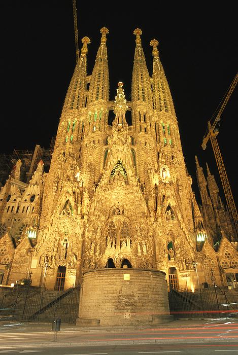 Religion Photograph - Night View Of Antoni Gaudis La Sagrada by Richard Nowitz
