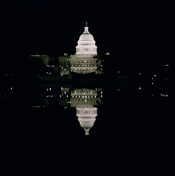 Night View Of The Capitol Photograph - Night View Of The Capitol by American School