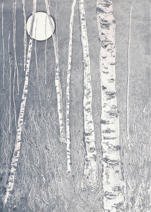 Birch Painting - Night Watchmen by Lisa Le Quelenec