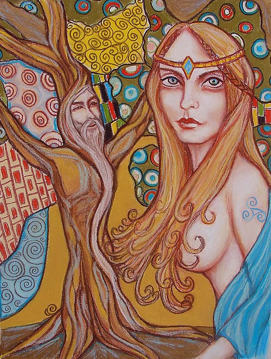 Nimue Painting - Nimue And Merlin by Tammy Mae Moon