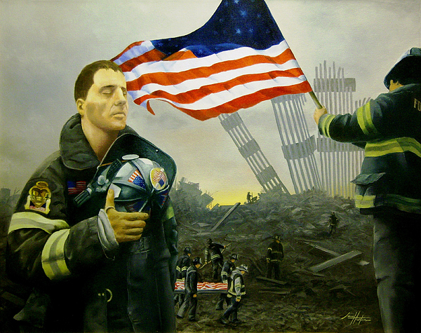September 11 2001 Painting - Nine Flags Eleven Fireman One Body by Jim Horton