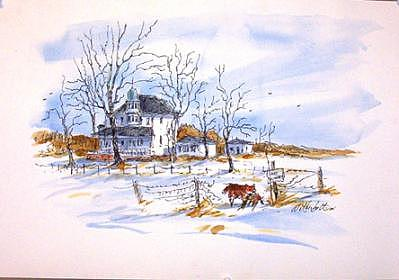 Watercolor Ink Painting - No Hunting- Original Watercolor by Larry Wetherholt