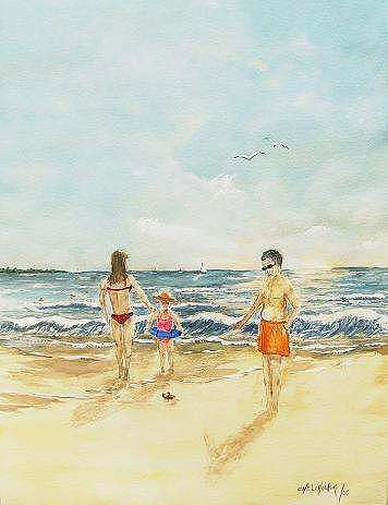 Family On The Beach Painting - No Trample by Miroslaw Chelchowski
