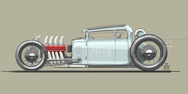 Hot Rod Drawing - No.4 by Jeremy Lacy