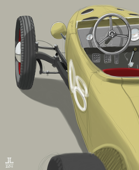 Hot Rod Drawing - No.8 by Jeremy Lacy