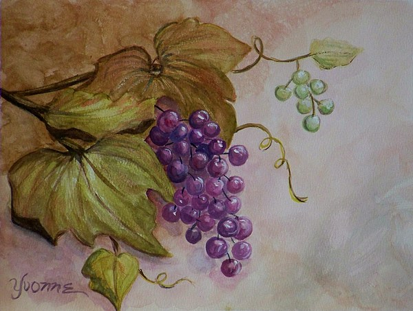 Nonnies Grapes Painting by Yvonne Kinney