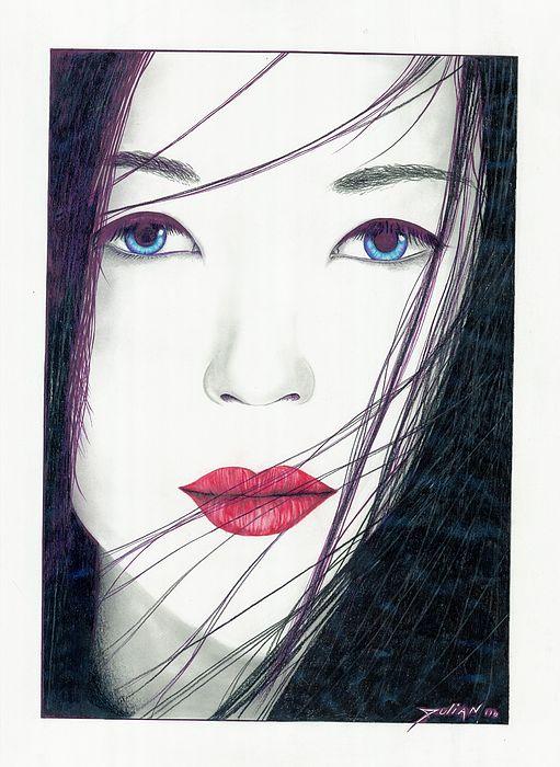 China Girls Drawing - Nonya by Julian  B