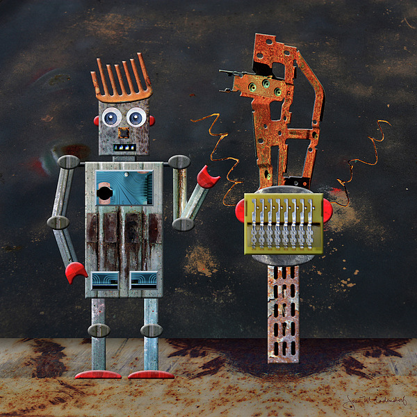 Robot Photograph - Norman With His Sculpture by Joan Ladendorf