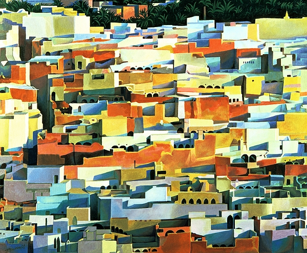 Town; Urban; Flat Roofs; Roof; Africa; Moorish Architecture; African; Townscape; North Africa; Colorful; House; Houses Painting - North African Townscape by Robert Tyndall